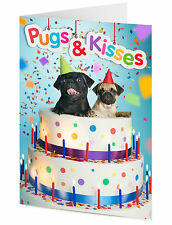 'Pugs & Kisses' two pug dogs emerge from a cake Birthday, Mother's day card