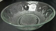 "Vintage 8.25"" Coin Dot Pattern Clear Glass Serving Bowl with Bubble Dot Base"