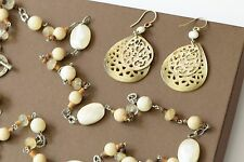 Silpada SET Cream Mother of Pearl Necklace N1504 & Carved Earrings W1525 $209