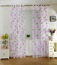 2Mx1M Floral Tulle Sheer Voile Drape Window Panel Door Curtain Valance Pink