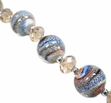 13pcs Earthy Swirly Round Silver Foil Lampwork Glass Bead 15mm New