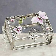 Pink Butterfly with Orchid Jewelry Box Container Brand New