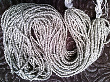 Vtg 2 HANKS PEWTER SILVER 2 CUT GLASS SEED 10/0 BEADS CZECH THEM OUT! #052912c