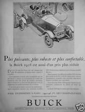 PUBLICITÉ BUICK 1928 PLUS PUISSANTE PLUS ROBUSTE ET PLUS CONFORTABLE