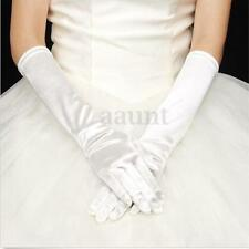 White Long Satin Gloves Over the Elbow Prom Wedding Bridal Party Formal USA