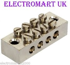 4 WAY EARTH TERMINAL CONNECTION BLOCK SOLID BRASS ELECTROPLATED NICKEL FINISH