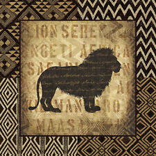 African Wild Lion by Wild Apple Animal Safari Print Poster 12x12