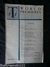 INTERNATIONAL THEATRE INSTITUTE WORLD PREMIER - DEC 1955 VOL 7 #3