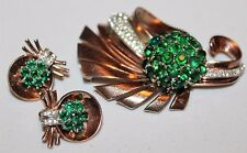 PENNINO Designer Vintage Sterling Silver Vermiel Runway Brooch Earrings Set SD2