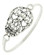 "Antique Silver Tone Filigree Skull  7.5"" Bangle Bracelet"