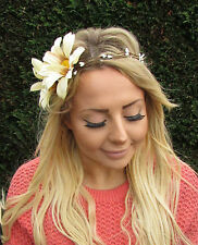 Large Cream Daisy Chain Flower Garland Headband Hair Crown Headpiece Rustic 2019
