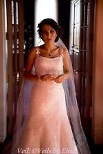"""Wedding Veil Cathedral SingleTier 108"""" Width 108"""" Length Cut Edge 27 Colors"""
