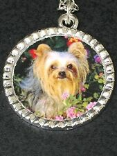 "Yorkshire Terrier Dog Charm Tibetan Silver with 18"" Necklace B BIN"