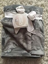Baby Thro Baby Blanket Unisex Boy Girl Dark Gray Bunny So Soft!! NWT