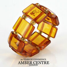 Opaque Deep Orange BALTIC AMBER Elastic Ring RB022 RRP-£35