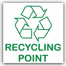 Recycling Point Self Adhesive Sticker-Printed Recycle Logo Sign-Green on White