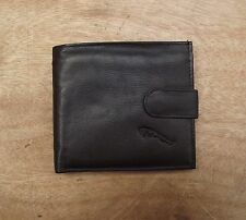 Jaguar logo Black Leather wallet with zipped compartment