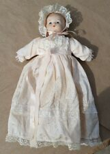 "Porcelain Baby Doll Awake 12"" tall with Lacey Dress and Bonnet Bows Vintage"