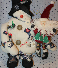 Patches & Buttons SNOWMAN stuffed muslin & felt black HAT & Button Leg Santa
