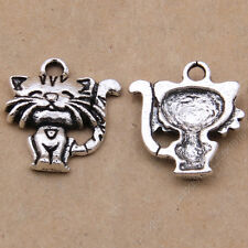 15pc Tibetan Silver Bracelet Charm Pendant Cat Animal Jewellery Making N481