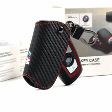 1Pcs ///M Carbon Fiber & Red Line Car Vehicle Remote Key Bags Case Holder Cover