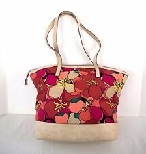 Canvas Beach Bag Tote Purse Orange Red Yellow Beige Floral Relic by Fossil