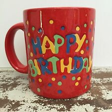 Waechtersbach Happy Birthday Confetti Mug Red Pottery Germany Excellent Y3