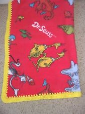 DR SEUSS/CAT IN HAT RED BABY-TODDLER FLEECE-BLANKET CROCHET EDGE