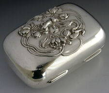 STUNNING AMERICAN ART NOUVEAU STERLING SILVER TRINKET SOAP BOX c1905 ANTIQUE