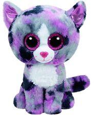 Ty Lindi the Grey Gray & Pink Cat Kitty Kitten Beanie Boos Stuffed Plush Toy