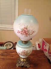 Antique Gone with the Wind Lamp Light Hand Painted Flowers