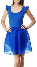 BETSEY JOHNSON Rib Tank Top Pocket Silk Organza Flutter Tutu Skirt Tulle Dress S