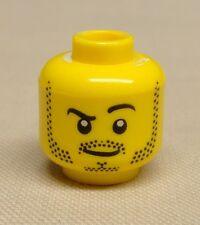 x1 NEW Lego Minifig Head w/ Beard Stubble, Black Raised Eyebrow and White Pupils