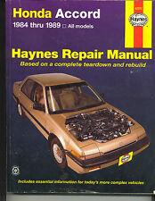 Haynes Repair Manual Honda Accord 1984 thru 1989 All Models