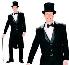 Mens Black Tailcoat Fancy Dress Costume Jacket Victorian Gentleman Outfit New