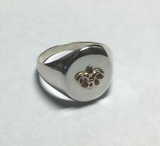 Brand New Sterling Silver & 14K Rose Gold Fleur-De-Lis Emblem Man's Signet Ring