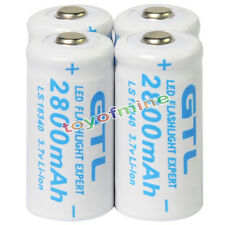 4x 3.7V CR123A 123A CR123 16340 2800mAh GTL Rechargeable Battery Cell White