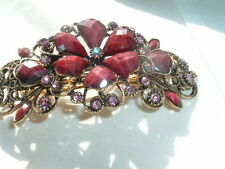 BEAUTIFUL PURPLE CELLLULOID PINK RHINESTONE  LARGE CLIP GOLDTONE HAIR BARRETTE