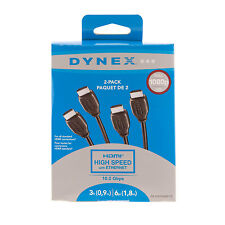 Dynex 3 ft. (0.9m) & 6 ft. (1.8m) HDMI Cable (DX-HG0306501-C) - 2 Pack