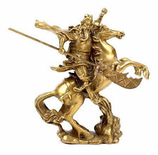 Chinese Ancient Hero Guan Gong Guan Yu ride on horse * bronze statue