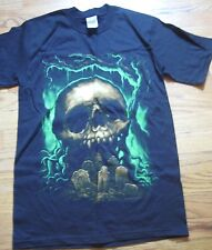 NEW VINTAGE Benscoter Halloween Green Skull Cemetery Graves black T-shirt sz S