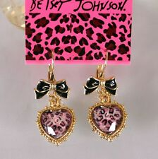 NEW Betsey Johnson Women Leopard Heart Bow Crystal Gem Alloy Earrings BJEA052