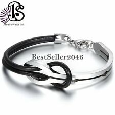 Handmade Infinity Love Knot Black Leather Stainless Steel Mens Womens Bracelet