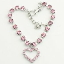 Crystal Diamante Heart Rhinestone Chain Pendant Pet Necklace Collar Dog Jewelry