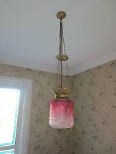 Grand Victorian Cranberry Glass  Paraffin Hall Oil Lamp Hanging Light