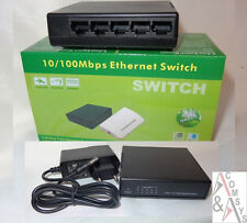 Switch 5 Port Fast Ethernet 10/100 Mbit Mini Rete LAN Hub DSL Incl. Alimentatore