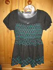 Size 10 Miss Selfridge black sherred short sleeve blouse VGC