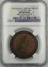 1797 Soho 11 Leaves OBV G. Britain Penny Coin NGC AU Det. Obverse Scratched AKR