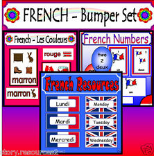 FRENCH NUMBERS COLOURS DAYS MONTHS Teaching resource CD KS1 KS2 FLASH CARDS ETC