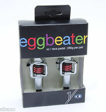Crank Brothers Egg Beater Mountain Bike Pedals, Silver with Red Spring